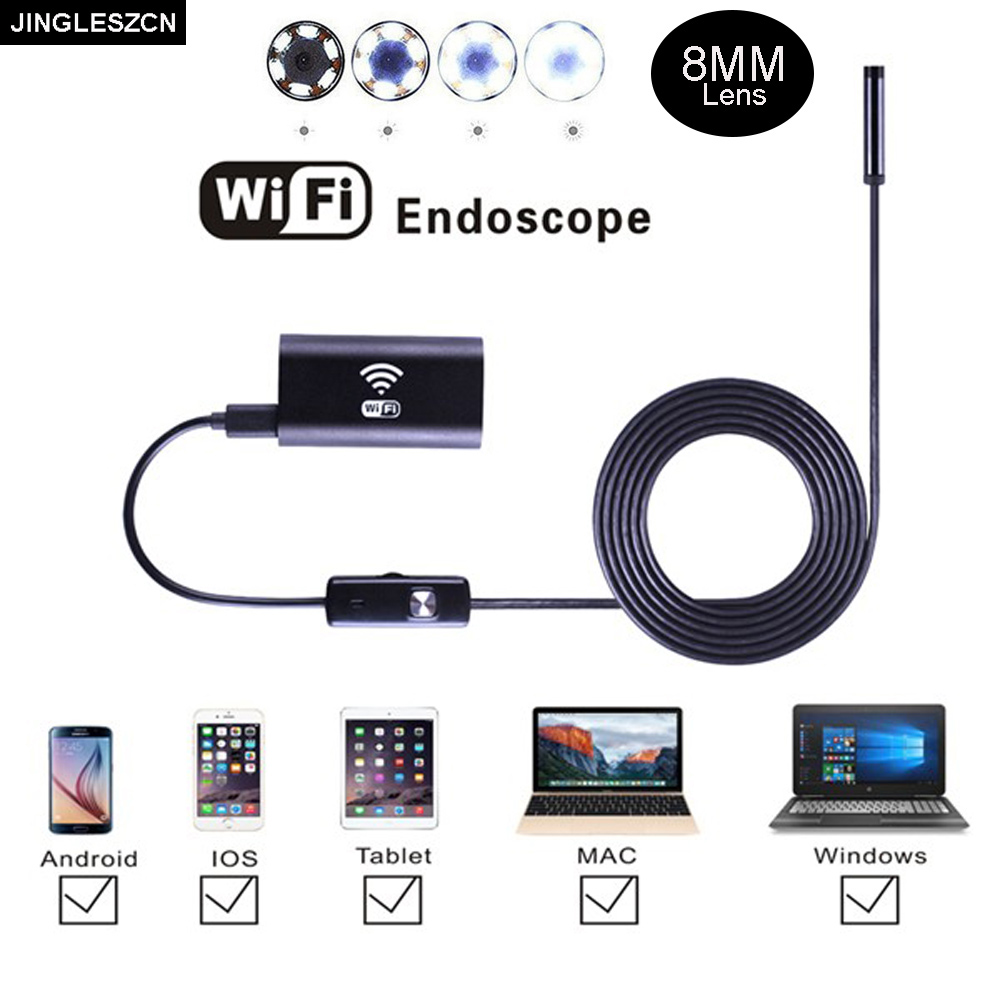 JINGLESZCN Wifi Endoscope Camera 8mm Lens 3.5m Waterproof Inspection Borescope Endoscope Snake Video Mini Camera IOS Android PC eyoyo nts200 endoscope inspection camera with 3 5 inch lcd monitor 8 2mm diameter 2 meters tube borescope zoom rotate flip