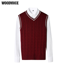 Woodvoice 2017 Brand Clothing 100% Cotton Solid V Neck Casual Male Sweater Vest Men Pullover Knitted Sleeveless Men Sweater S017