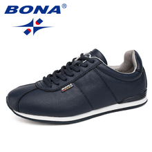BONA New Classics Style Men Casual Shoes Comfortable Men Shoes Lace Up Male Flats Light Soft Men Loafers Fast Free Shipping