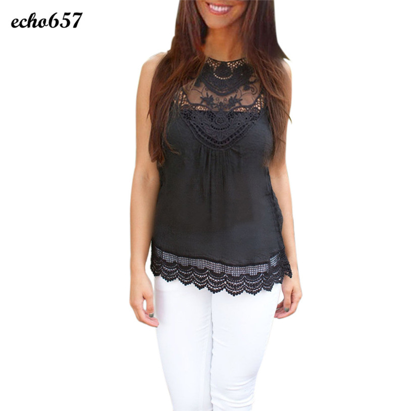 Venta caliente Echo657 moda mujeres verano chaleco Top sin mangas Casual  Tank Tops Lace P40 2dc446959fa