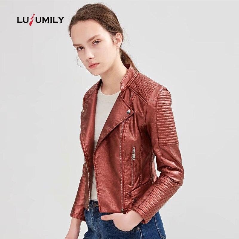 Lusumily Moto Biker Leather Jacket Women Zipper Soft Pu Faux Leather Coat Soft Pu Jackets Jaqueta