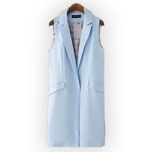 Women Long Pocket Vest Coat 2017 New Spring Fashion Solid Color Elegant Office Suits Sleeveless Jacket Female Waistcoat Colete