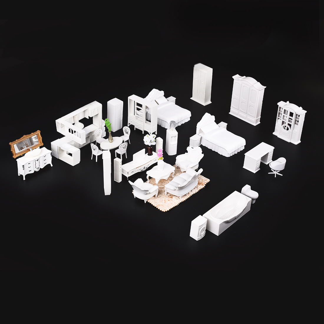 DIY Model Furniture Stereo Air conditioning Single bed Indoor Arrangements Carpet Tv cabinet Washing machine Useful
