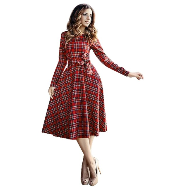 Women Plaid Long Sleeve Retro Dress Women Bowknot Plaid High Waist A-line  Long Dresses Ladies Casual O-neck Dresse 1482f452a