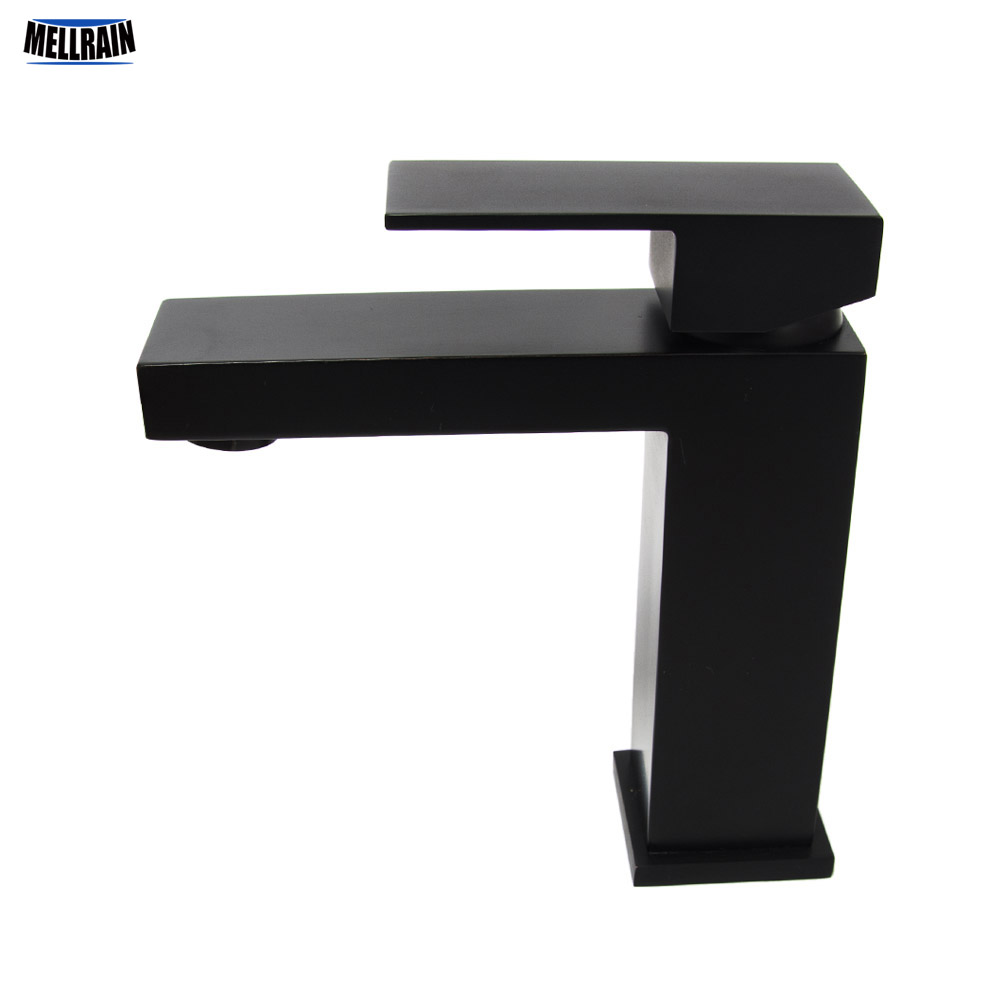 Black plated undercounter bathroom faucet quality brass hot and cold mixer square design basin water tap bathroom brass water automatically sense faucet basin mixer hot and cold tap modern design high quality