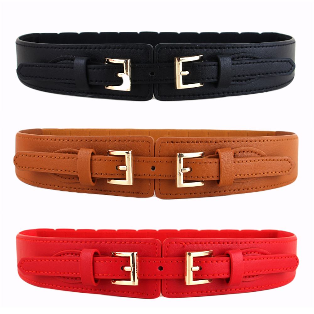 New Women Red Color Faux Leather Fabric Elastic Waistband Fashion Belt XS S M