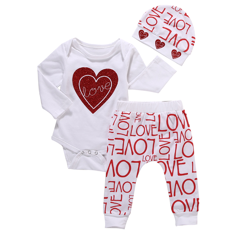 2017 Hot Newborn Infant Baby Boy Girl Clothes Love Heart Bodysuit Romper Pant Hat 3PCS Outfit Autumn Suit Clothing Set 2017 newborn baby boy girl clothes floral infant bebes romper bodysuit and bloomers bottom 2pcs outfit bebek giyim clothing