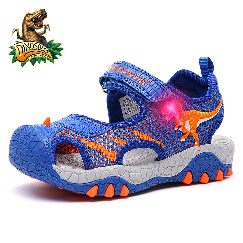 Dinoskulls Kids Boys Sandals LED Shining Summer Toddler Shoes Light Up 3D Dinosaur Children's Shoes Mesh Breathable Beach Shoes