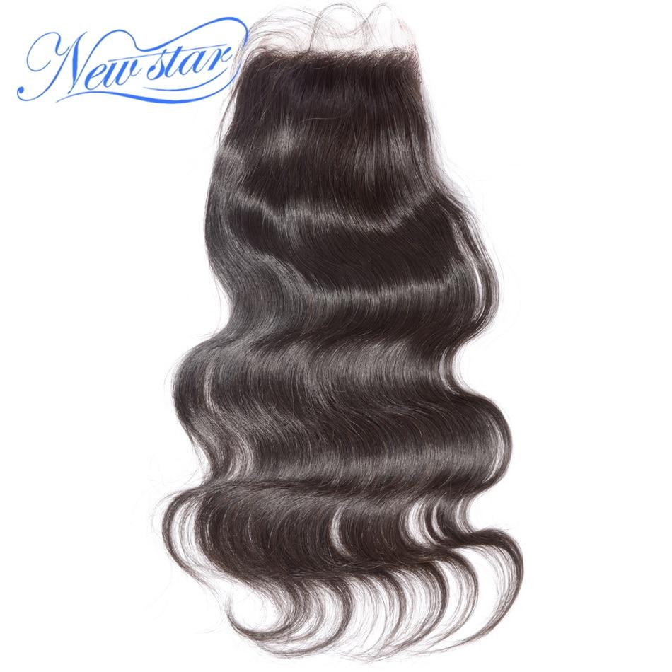 New star волос кружева объемная волна 4 ''x 4'' свободная часть закрытие перуанский девственных человеческого волоса коричневый Swiss кружева с ребе...