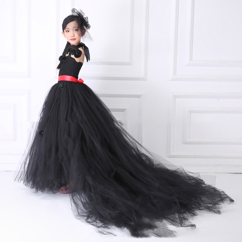 Шикарное черное классическое вечернее платье для девочек, длинный Тюль для поездов, черный однотонный винтажный костюм для детей, платья на