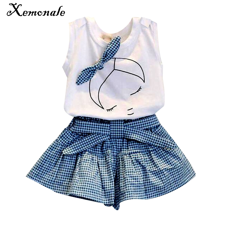 New 2016 brand summer baby girl clothing sets fashion Cotton print shortsleeve T-shirt and skirts girls clothes sport suits