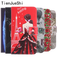 TienJueShi Fashion Design Flip Book Protect Leather Cover Shell Wallet Etui Skin Case For Panasonic P100 ELUGA I4 I5 Ray X(China)