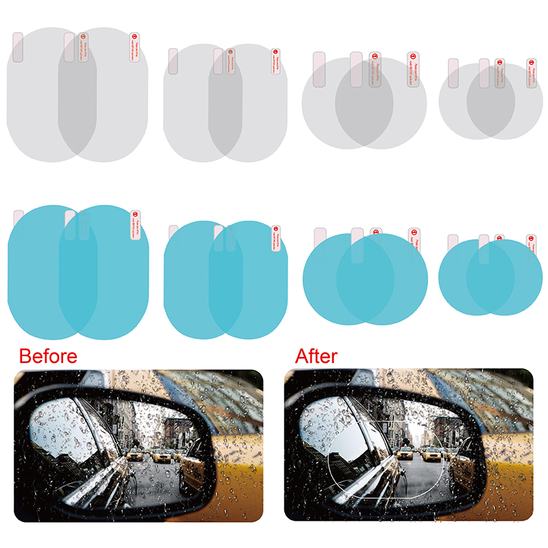 2Pcs Car Rearview Mirror Protective Film Anti Fog Window Clear Rainproof Rear View Mirror Protective Soft Film Car Accessories