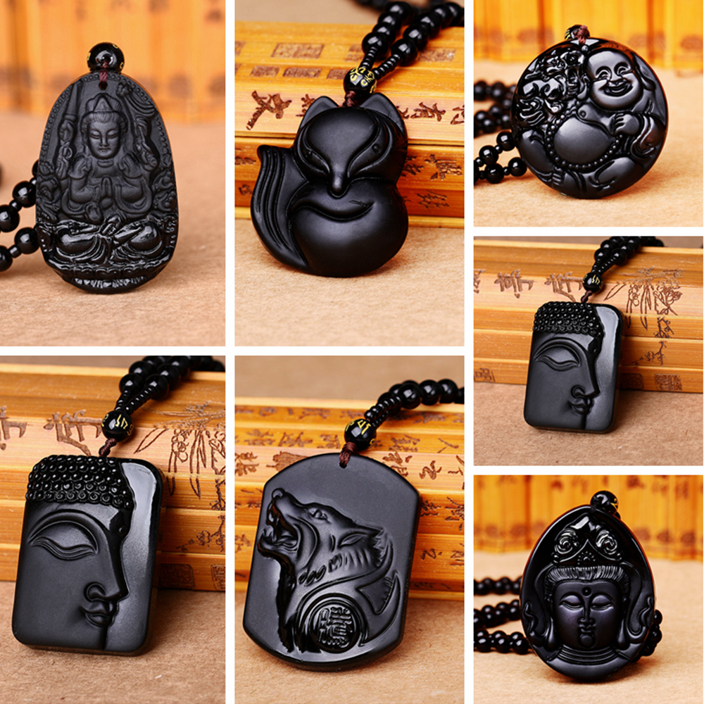 Natural Obsidian Carving Wolf Head Necklaces Head Black Beads Chain Women Party Male Buddha Animal Fox Lucky Pendant Men Jewelry