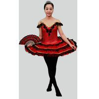 Spanish Red Classical Ballet Tutu With Black Trims,Black Red Don Quixote Ballet Tutus Ballet Dress for Adult or Child Pancake