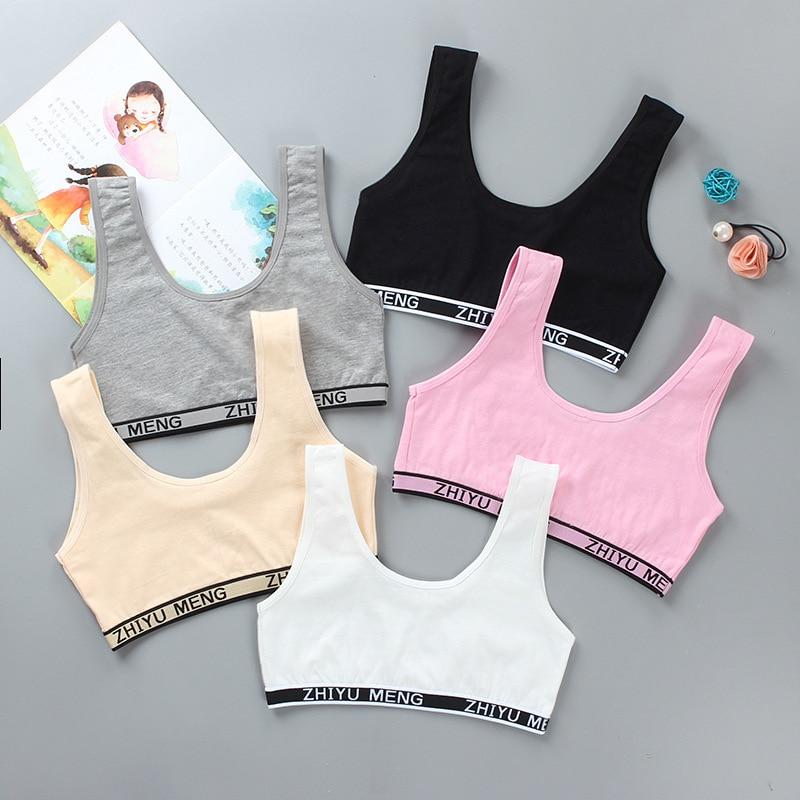 Summer Thin Girl Training Linen Soft Brassiere Sport Girl Bras For Teen Girls Letter Children Topic For Teenagers Vest