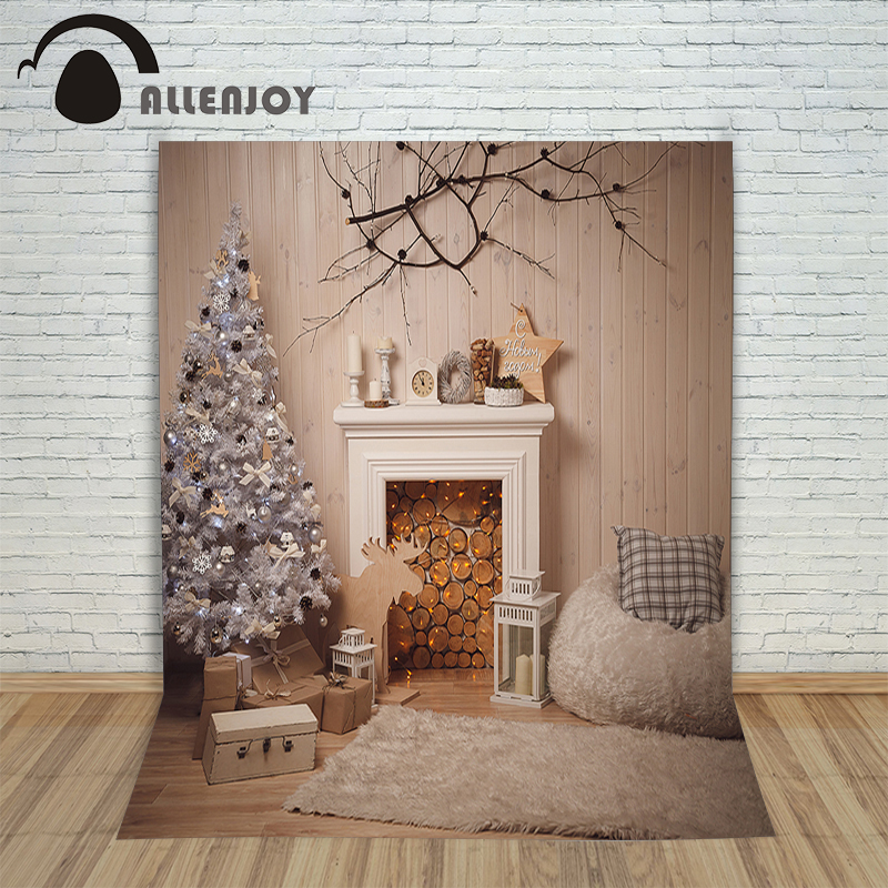 Allenjoy Christmas backdrop Fireplace tree wood wall warm professional backdrop background pictures photocall