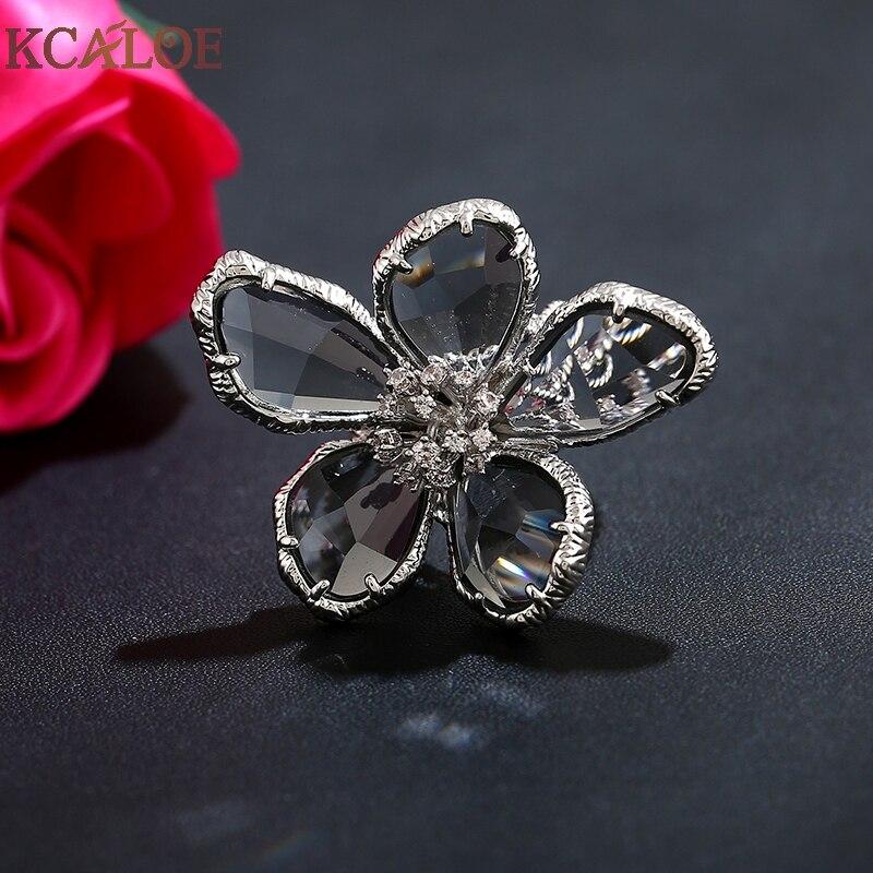 KCALOE Lyx Blå Transparent Crystal Stora Blommor Ringar För Kvinnor - Märkessmycken - Foto 6