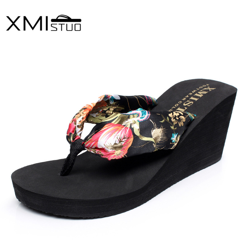 e48dc9b670d XMISTUO Women Silk Flip Flops Female Summer Beach Wedges Satin Slippers  Water resistant 7CM High heeled Slippers 6 Color XMC030-in Slippers from  Shoes on ...