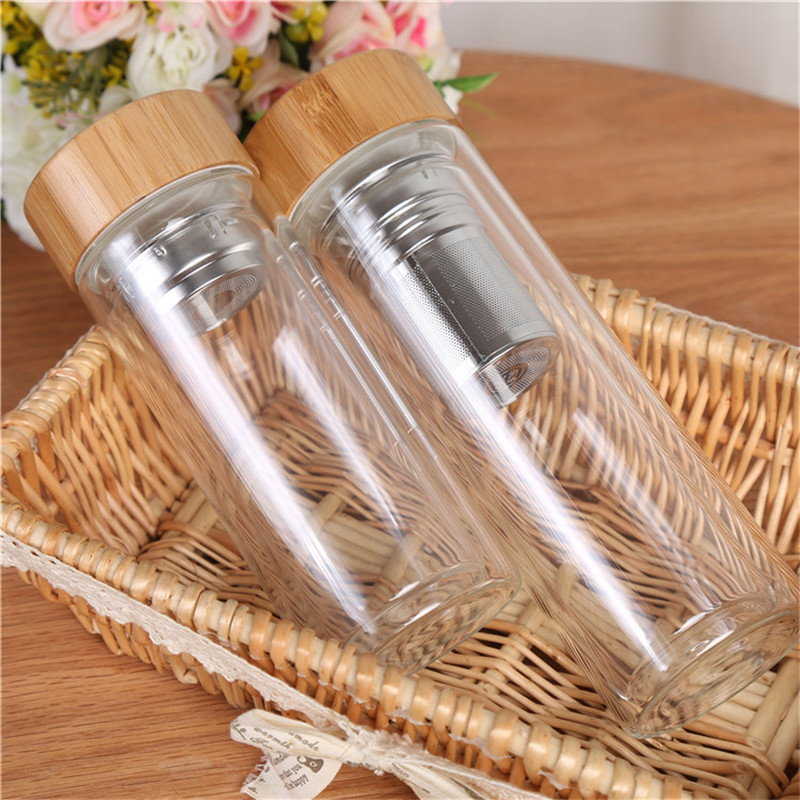 10pcs 350ml 450ml Bamboo lid Double Walled glass tea tumbler Includes strainer and infuser basket