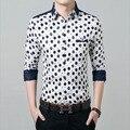 1pcs Men's plus size shirts Tops 2017 Spring Fashion cotton dot prints splicing dress shirts Men Skinny shirts overhemd woman