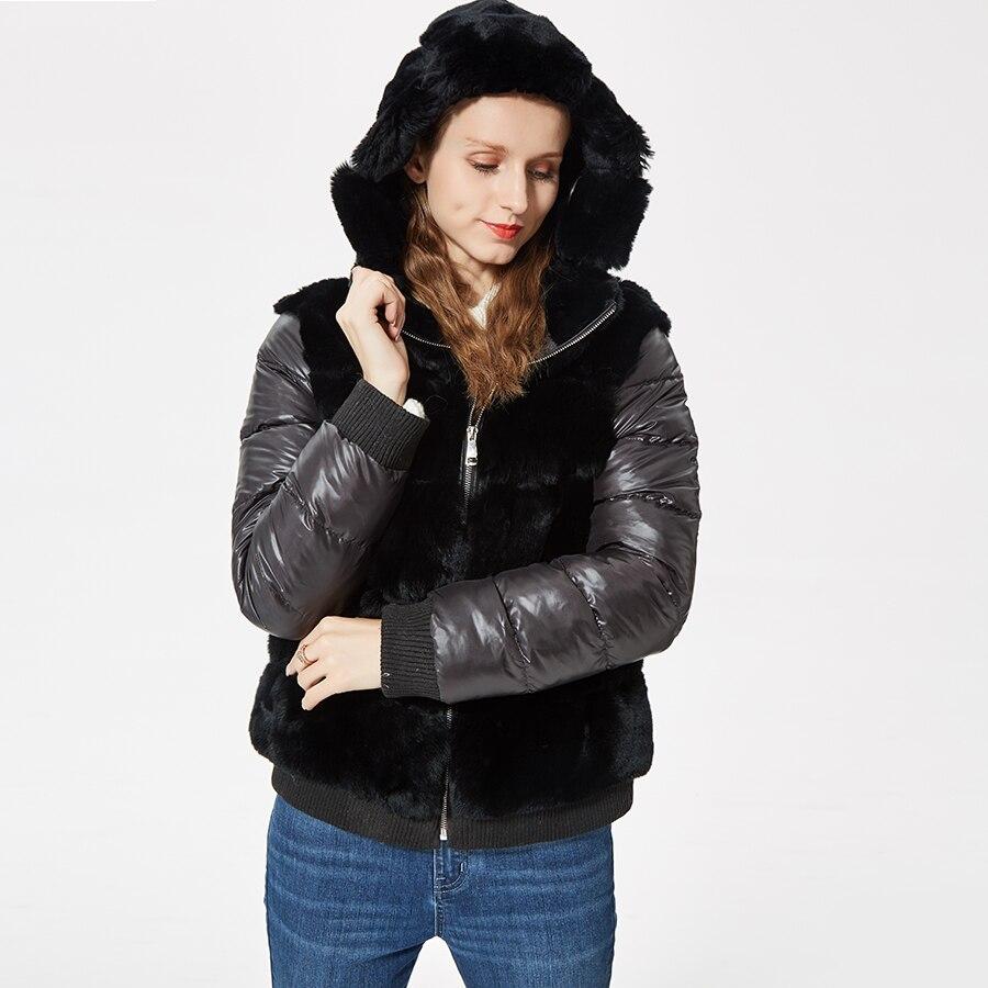 Naturel court rex de fourrure de lapin manteau femmes d'hiver fourrure naturelle veste avec capuchon de fourrure fanshion nouveau outwear bas manches manteau sportif