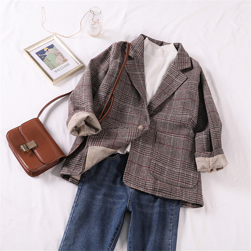 Women's Clothing Suits & Sets Korean Houndstooth Women Blazers New Ladies Long-sleeved Small Suit Female Autumn And Winter Plaid Jacket Slim Dm002