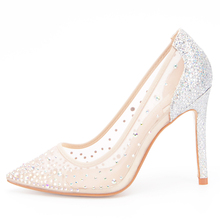 Stylesowner Mesh Crystal High Heels Pumps Thin Heels Women Pumps Ladies Girl Fashion Summer Pointed Toe Shallow High Heel Shoes