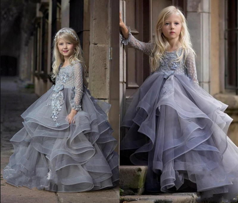 Tulle Flower Girl Dress with Floral Appliques Tiered Pageant Gowns For Sweet Princess Formal Wear Full Sleeves Custom Made LongoTulle Flower Girl Dress with Floral Appliques Tiered Pageant Gowns For Sweet Princess Formal Wear Full Sleeves Custom Made Longo