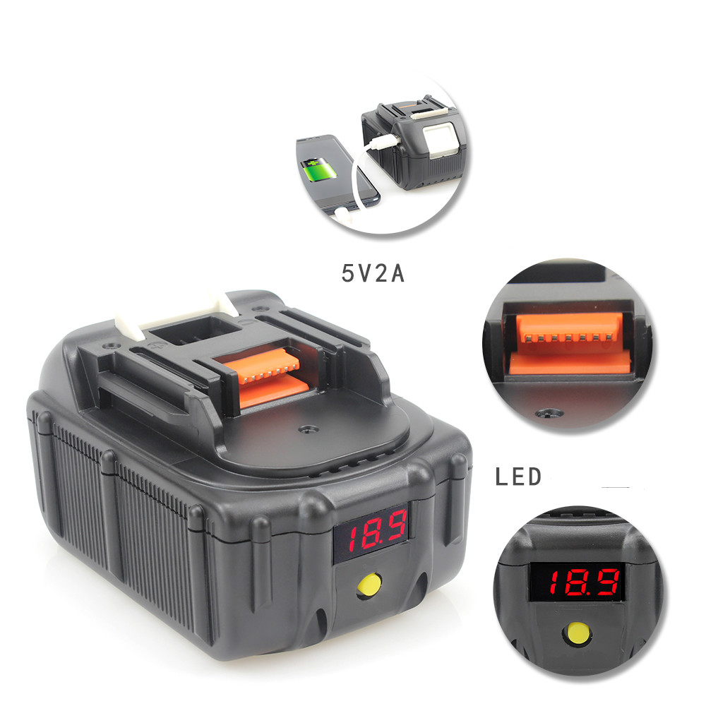New LED 18V Li-ion 6000mAh BL1860 Battery Replacement for Makita BL1830 BL1850 BL1860 USB Charging