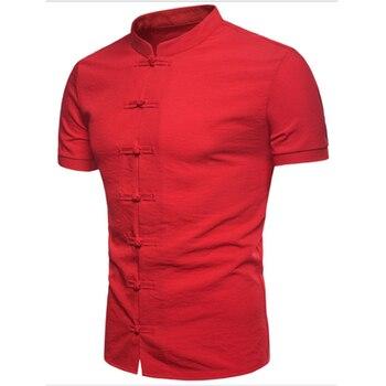 Nueva Camisa Casual De Manga Corta Para Hombre Camisa De Cuello Mandarin Camisas Chinas Con Botones Anudados Camisas Ajustadas De Algodon