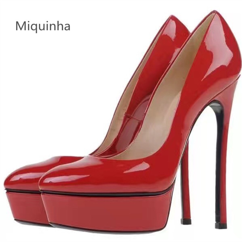 MIQUINHA 2017 New Brand Shoes Woman High Heels Pumps Pointed Toe Spring Shoes High Platform Womens Slip On Women Shoes Pumps new 2017 spring summer women shoes pointed toe high quality brand fashion womens flats ladies plus size 41 sweet flock t179
