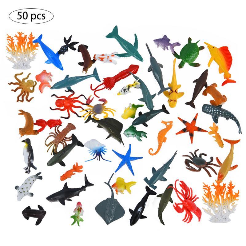 50 pcs Simulação Modelo Animal Marinho Simulação Brinquedo Animal Marinho Oceano Figuras de Animais Do Mar