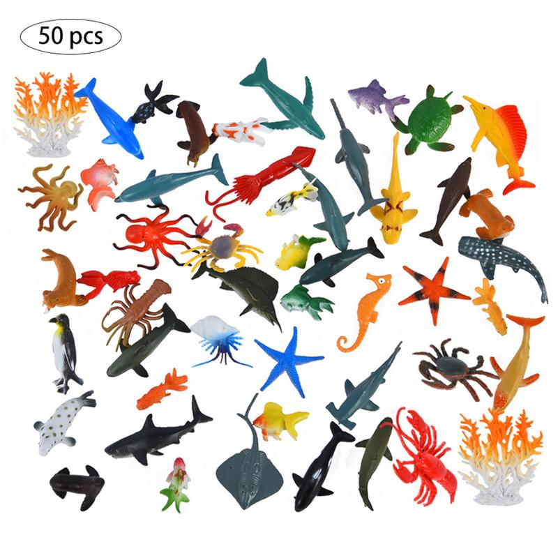 50pcs Simulation Marine Animal Model Toy Simulation Marine Animal Ocean Sea Animals Figures