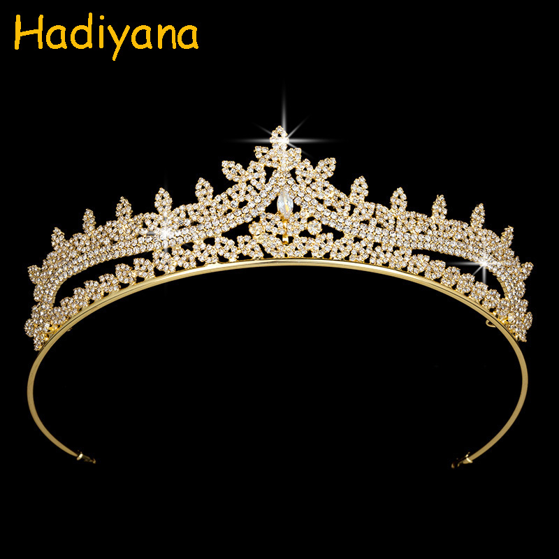 Hadiyana High Quality Queen Crown Sparkling AAA Cubic Zircon Jewelry Tiara Fantastic Design Gold Plating Crown For Women BC3624