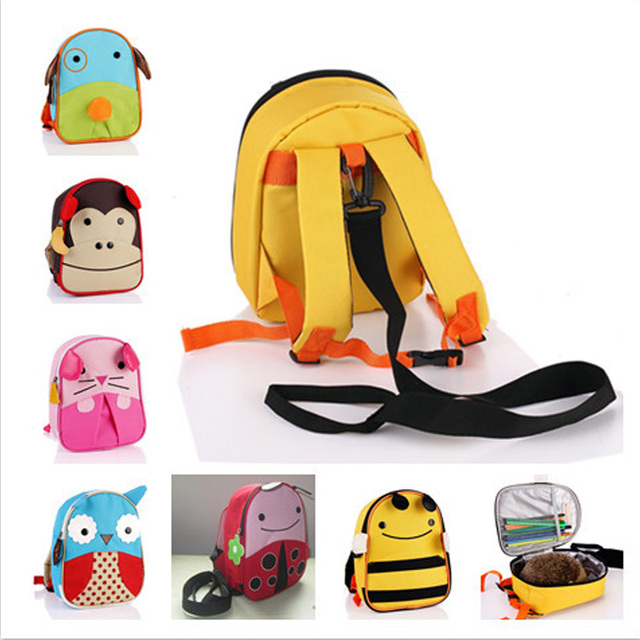 Free shipping school children kids cartoon animal character anti lost bag backpack drawstring troddler for child baby girls boys