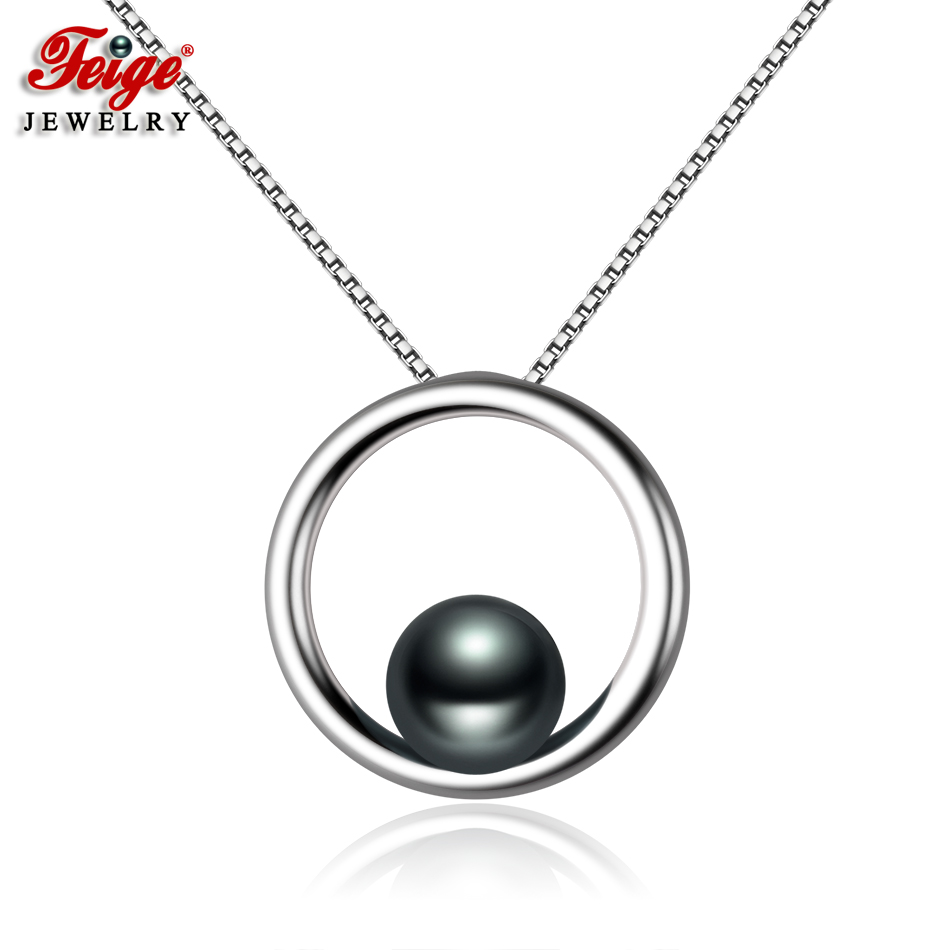 FEIGE Simple style 7-8mm Black Freshwater Pearl Necklace Real 925 Sterling Silver Pendant Necklaces for Women Fine Jewelry