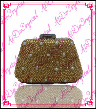 Aidocrystal fashionable handmade golden pearls bottle shape ladies clutch bag and high heel shoes for party