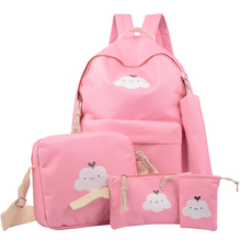 цены на Preppy Stylish Canvas Printing Backpack Women School Bags for Teenage Girls Cute 5 PCS Set Travel Backpacks Female Bagpack  в интернет-магазинах
