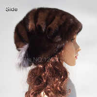 New winte girl women lady real Mink fur hat High-end noble warm Silver fox fur ornament genuine natural mink fur hats caps