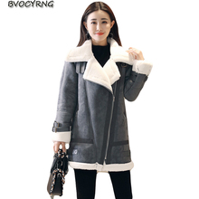 New 2018 Thick Winter Suede Leather Jacket Women High Quality Jacket Faux Lambs Wool Coat Loose Shearling Coats Female A0914