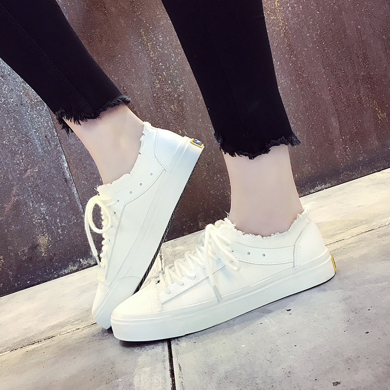 Women Vulcanized Shoes Woman Canvas Shoes 2018 Spring/Summer Harajuku Female Casual Shoes Breathable Lace-up student Flat Shoes 2018 new canvas shoes spring summer women shoes genuine leather canvas shoes female round toe flat shoes lace up female canvas s
