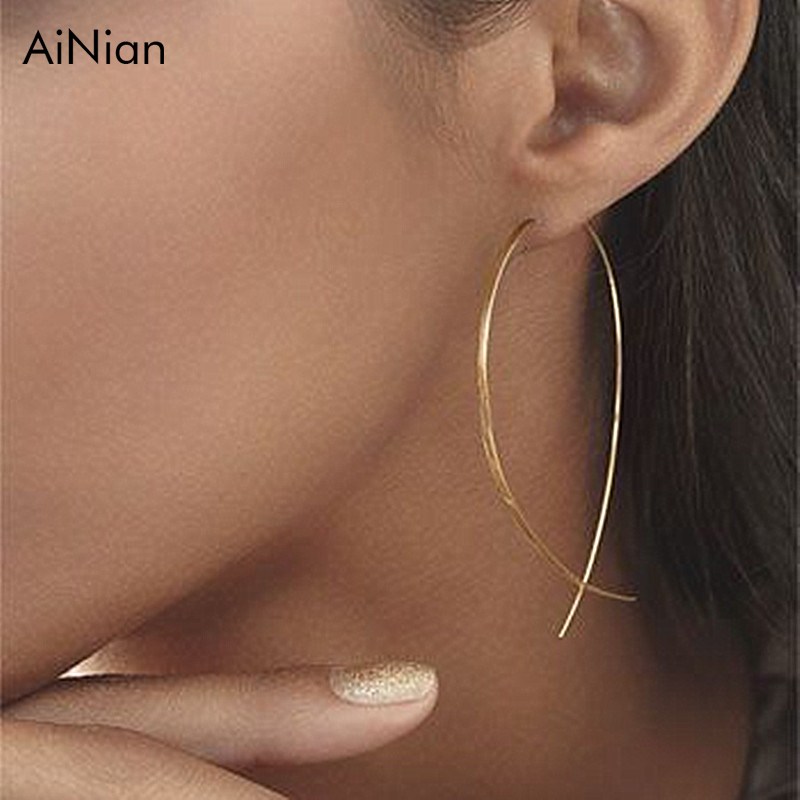 AiNian Fish Shaped Stud Earrings Simplicity Handmade Copper Wire Earring For Women Brincos De Gota Feminino 2018 Geometric New ...