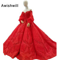 Real Photos Vintage Red Wedding Gowns With Puffy Sleeves Beaded Flowers Lace Wedding Dress Ball Gown Bridal Dress Princess