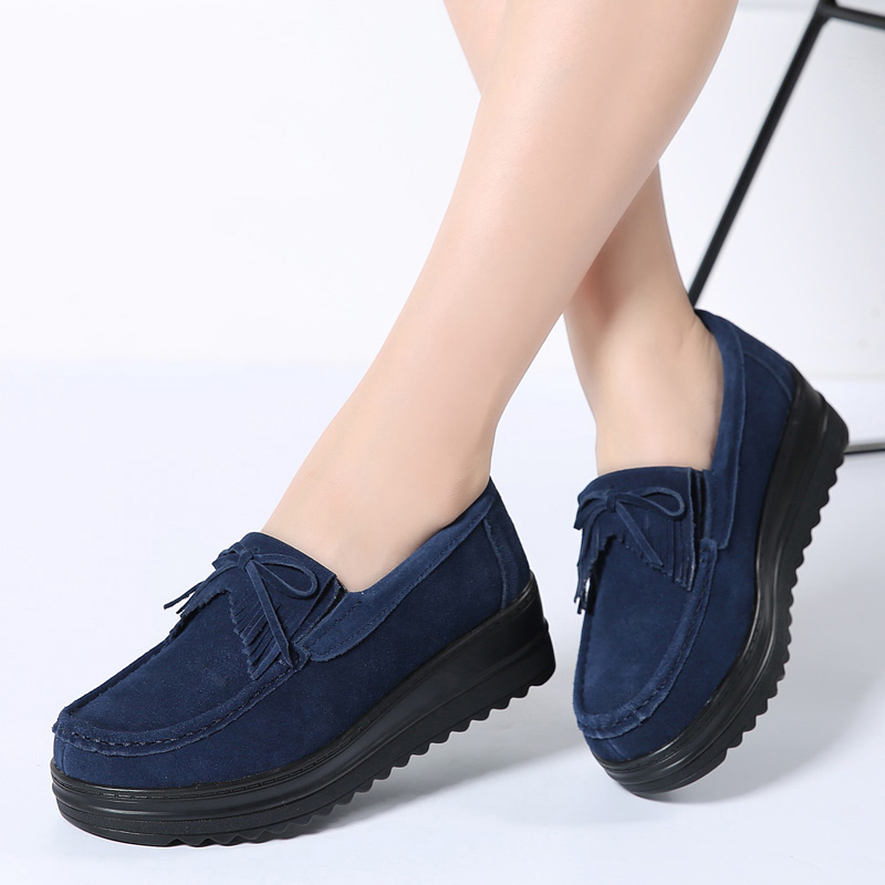 2019 Spring Women Platform Sneakers Shoes   Leather     Suede   Tassel Fringe Slip on Creepers Casual Black Shoes Footwear Moccasins 826