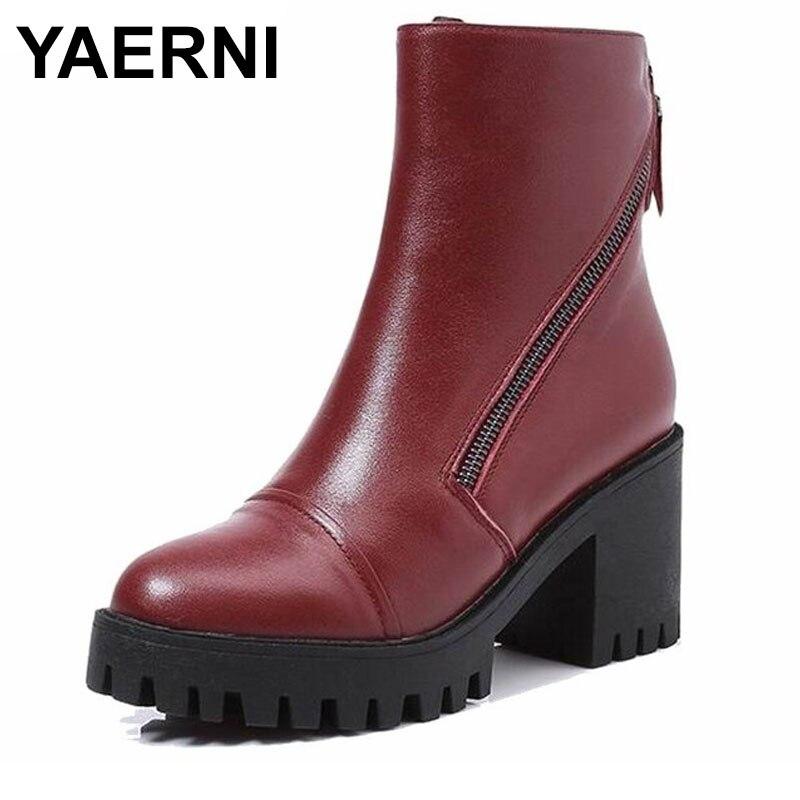 YAERNI Women Winter Boots Size 34~40 Warmest Genuine Leather Russian style Women Snow Boots E397 warmest genuine leather snow boots size 37 50 brand russian style men winter shoes 8815
