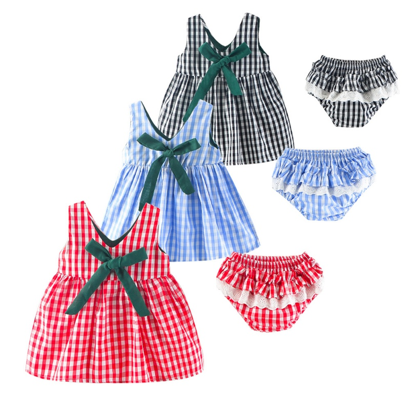 2PCS 2018 0-2T Newly Fashion Summer Hot Sale Baby Girls Clothes Set Infant Kids Sleeveless Plaid Dress + PP Shorts Suits