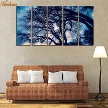ФОТО almudena frameless 5 pieces/set big tree shadow landscape painting canvas wall art room decor modern artwork print and poster