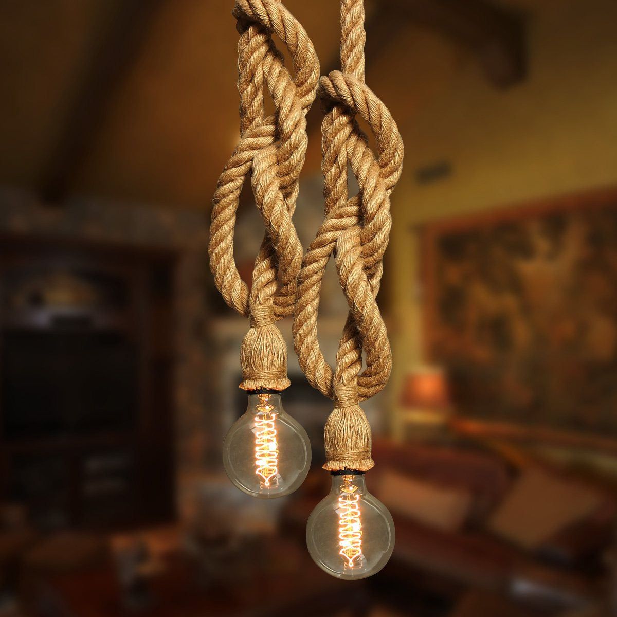 DIY 1-4M Double Heads Countryside Hemp Rope Lamp Pendant Lights Night Lighting Edison Bulb for Living Room Cafe Shop Home Decor edison inustrial loft vintage amber glass basin pendant lights lamp for cafe bar hall bedroom club dining room droplight decor