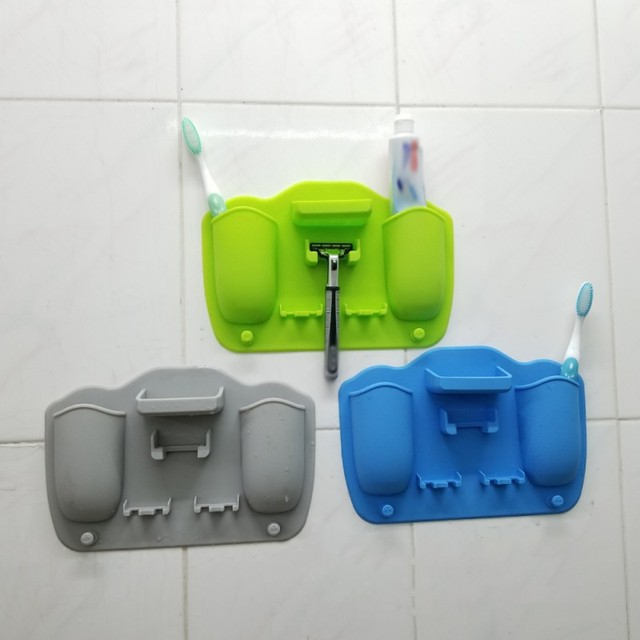 Pure Color 2 Hole Silicone Toothbrush Holder Bathroom Toothpaste